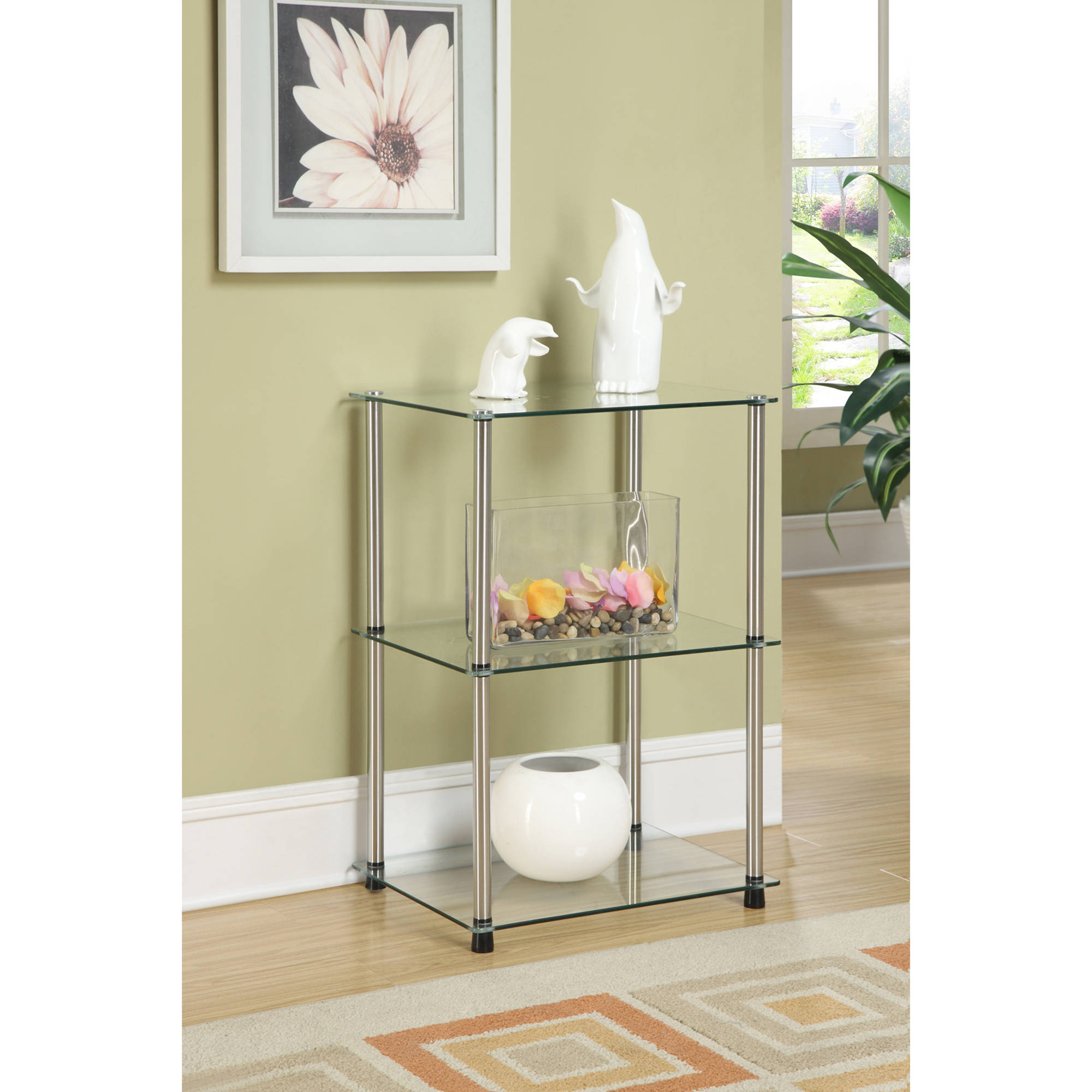 Metal Glass End Tables Convenience Concepts Designs2go No Tools 3 Tier Lamp End Table Metal And Glass
