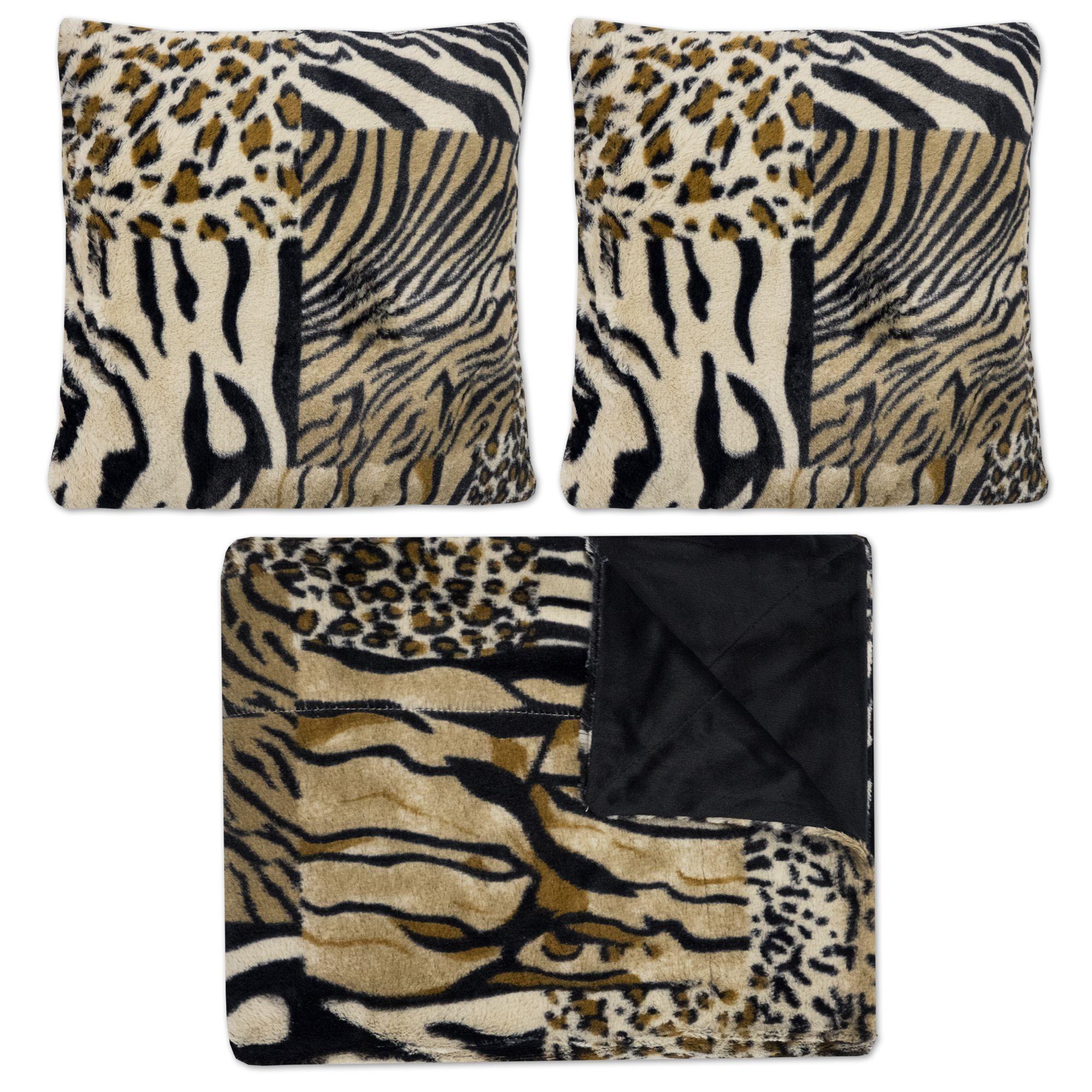 Mixed Exotic Animal Print 3 Piece Plush Faux Fur