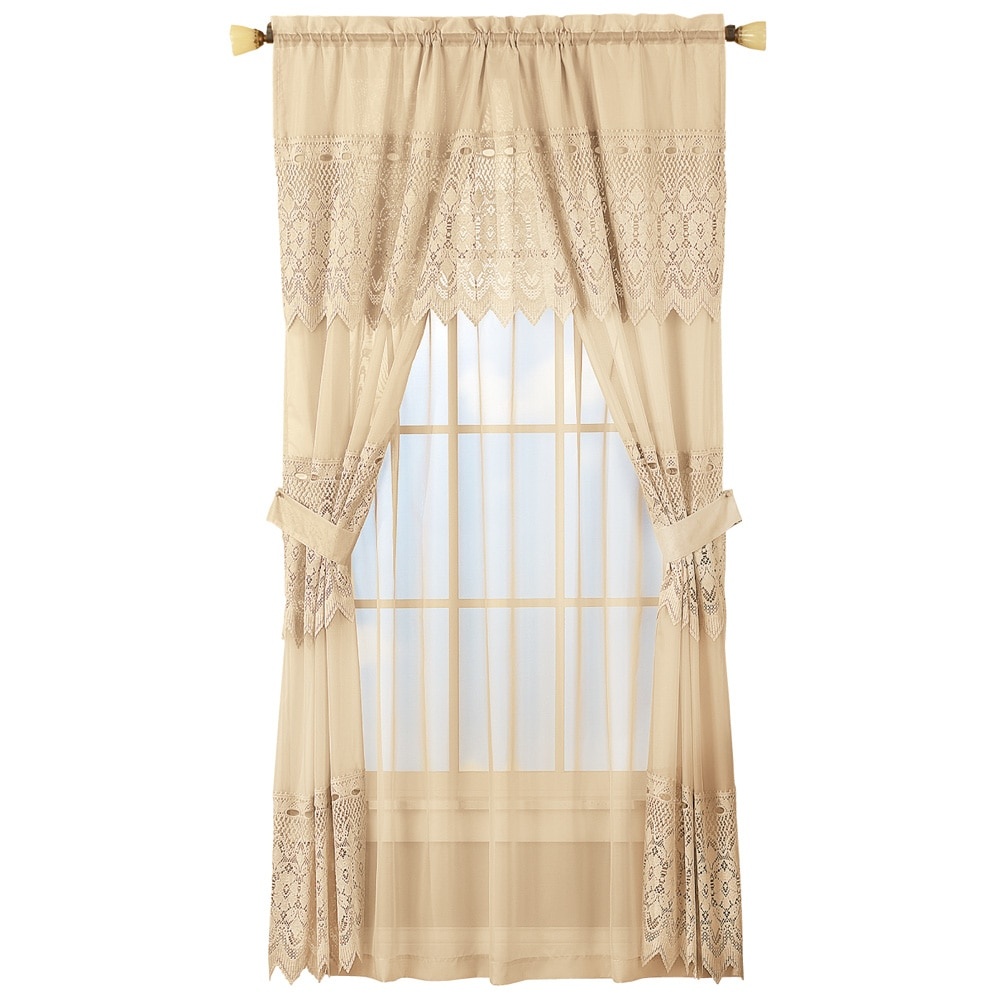 Sheer Lace Curtain And Valance Set Cream Walmartcom