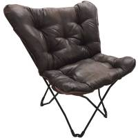 Mainstays Soft Faux-Leather Butterfly Chair - Brown ...