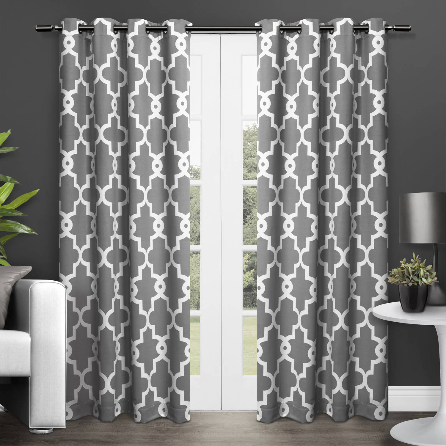 Grey Thermal Curtains Exclusive Home Curtains 2 Pack Ironwork Sateen Woven Blackout Grommet Top Curtain Panels
