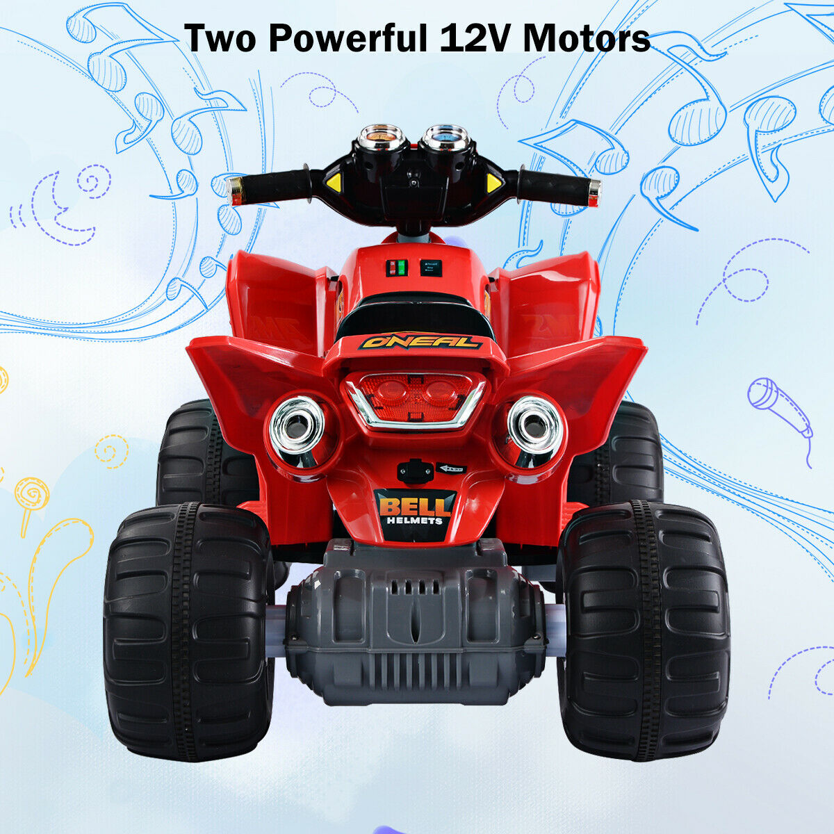 12v Led Quad Kids Ride On Atv Quad 4 Wheeler Electric Toy Car 12v Battery Power Led Red