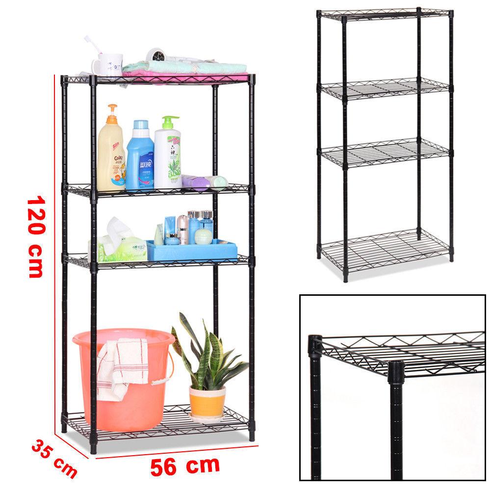 4 Tier Wire Shelving Metal Rack Storage Shelf Adjustable