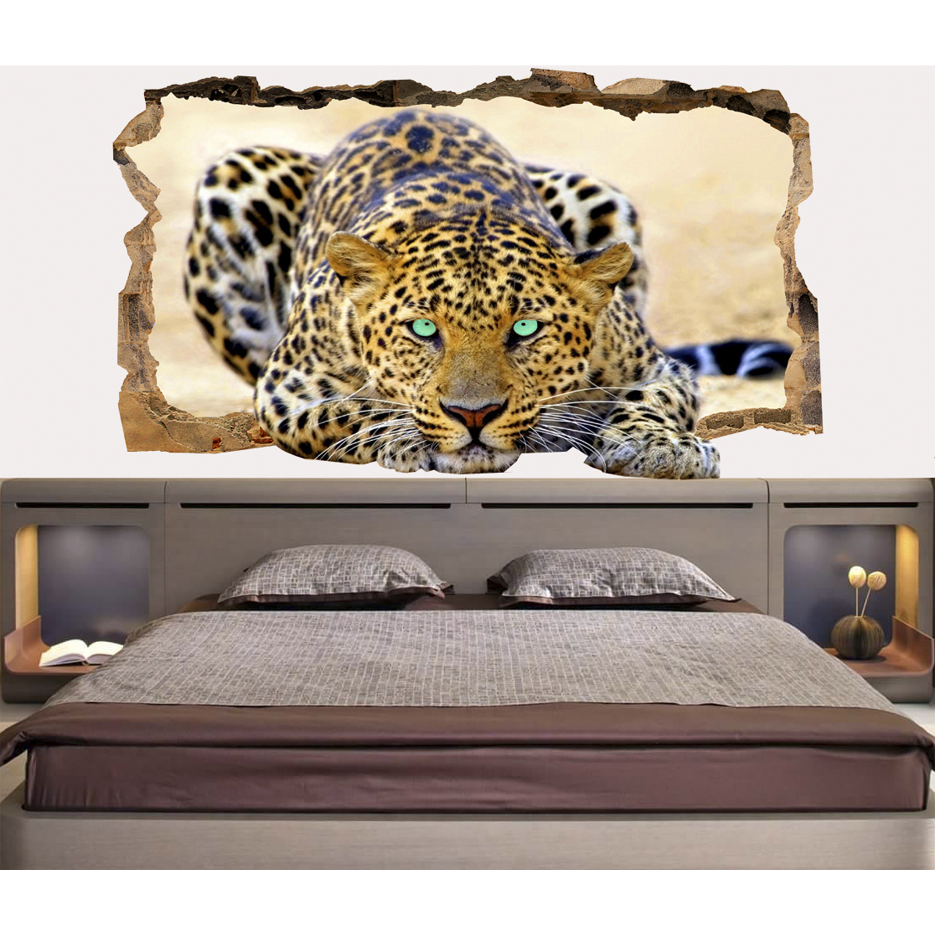 Wall Decoration Murale Startonight 3d Mural Wall Art Photo Decor Blue Eyes Leopard Amazing Dual View Wall Mural Wallpaper For Bedroom Animals Wall Paper Art Gift Large 47 24