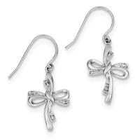 Sterling Silver Rhodium Plated Diamond Cross Dangle ...