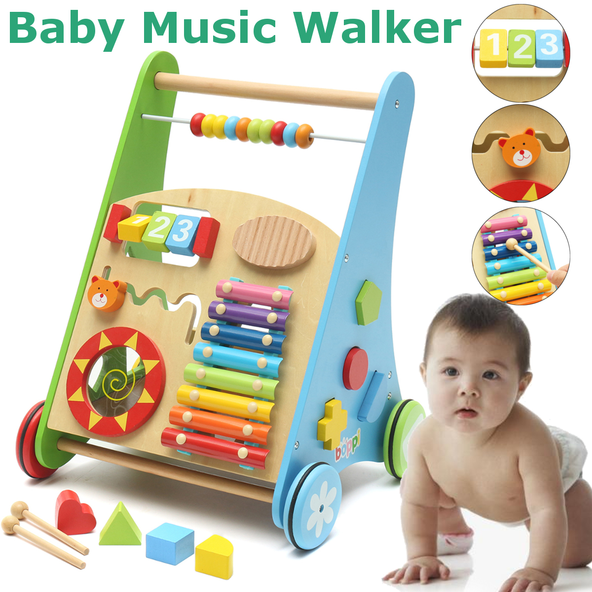 Wooden Baby Walker Helper Toddler Kid Push Activity Center