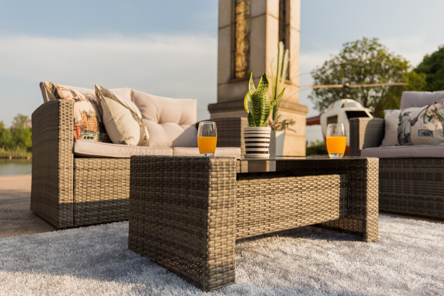 Baptist 6 Piece Rattan Sofa Set With Cushions Baptist Grey 6 Piece Outdoor Patio Furniture Conversation Set Garden Rattan Wicker Sofa Dining Set With Table And Luxury Cushions Lounge Set
