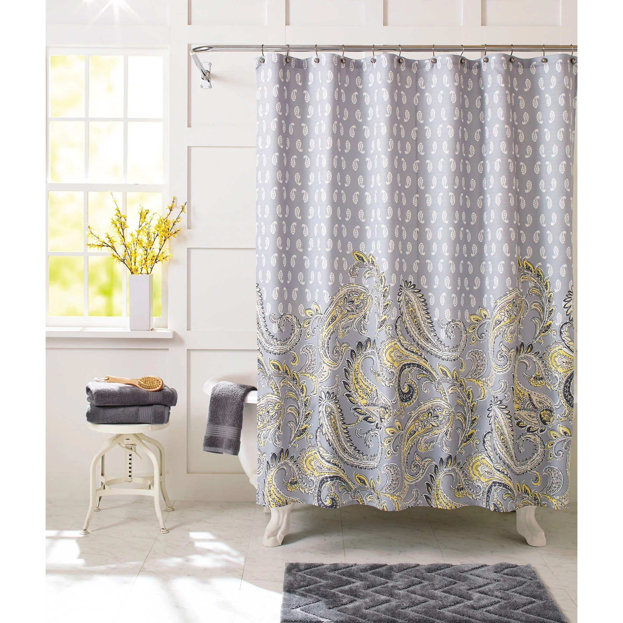 Yellow Fabric Shower Curtain Shower Curtains Grey And Yellow Curtain Menzilperde Net