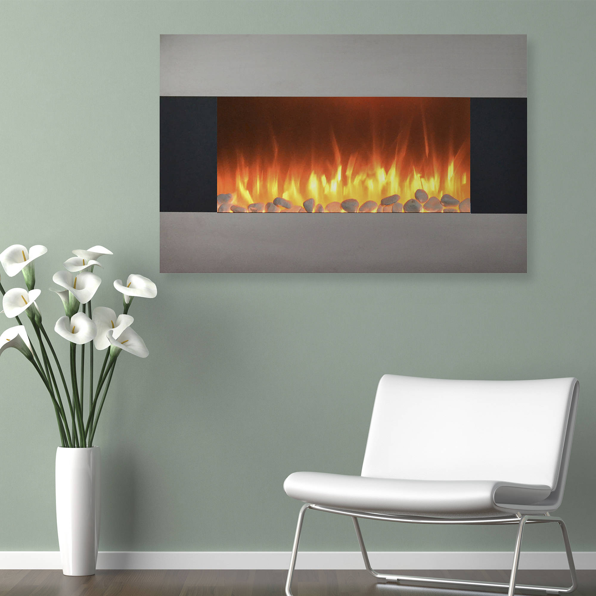 Wall Mount Fireplaces Stainless Steel Electric Fireplace With Wall Mount And Floor Stand And Remote 36 Inch By Northwest