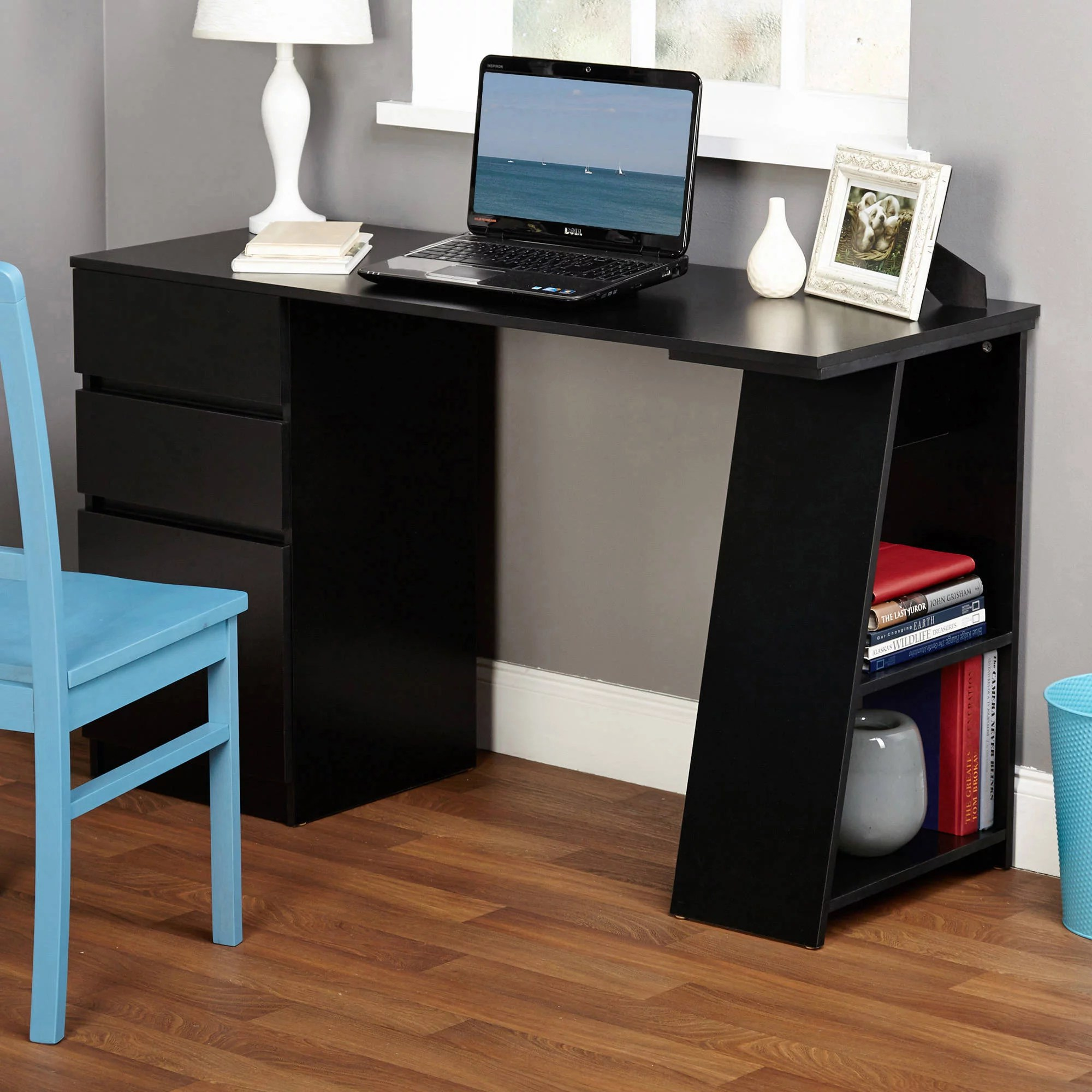Desks With Drawers Como Writing Desk With 3 Storage Drawers Multiple Colors