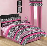 Pink & Black Leopard Zebra Teen Girls Twin Comforter Set ...