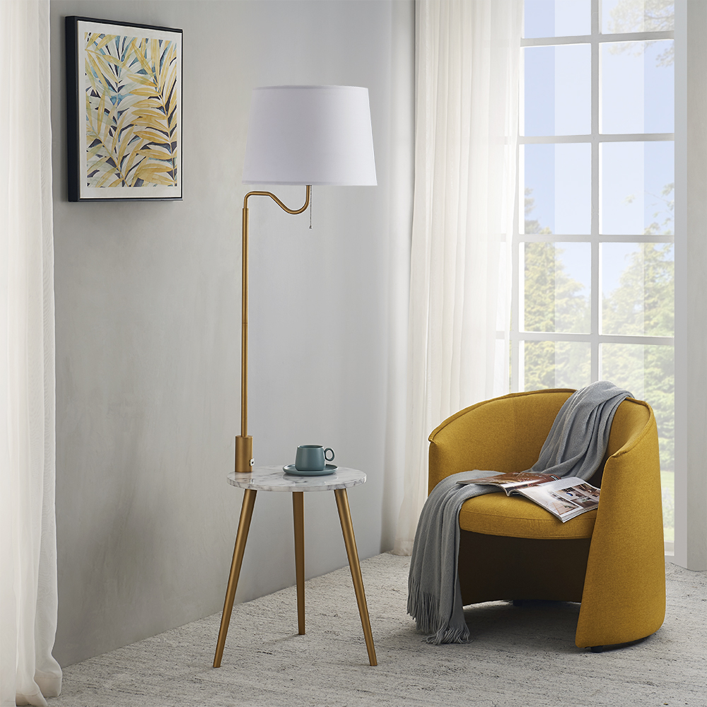 Rosen Garden Modern Metal Tripod Floor Lamp With Side Table And Usb Charging Port Swing Arm Lamp For Living Room Bedroom White Fabric Drum Shade And Golden Matte Walmart Com Walmart Com