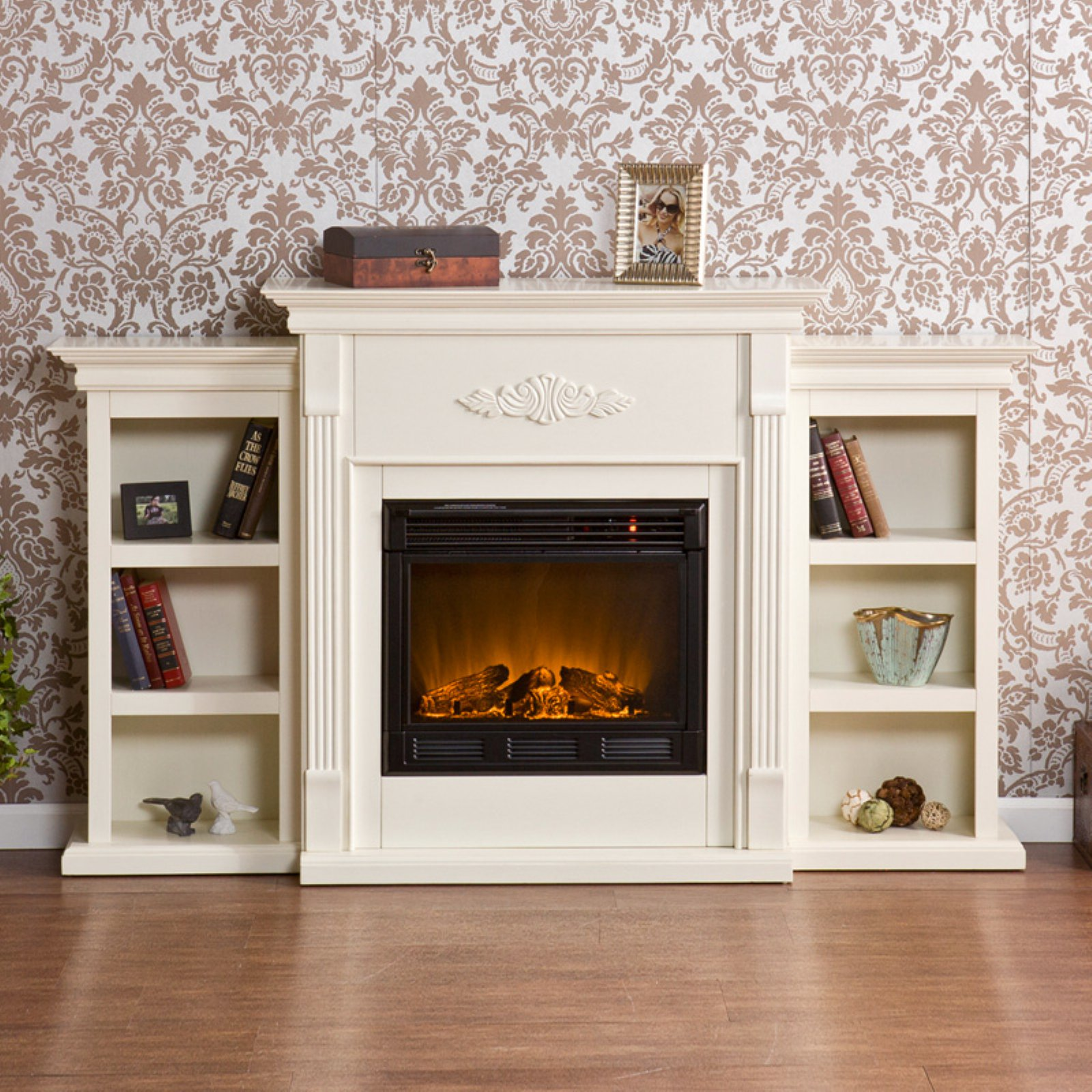 Tennyson Bookcase Electric Fireplace Southern Enterprises Tennyson Ivory Electric Fireplace With Bookcases