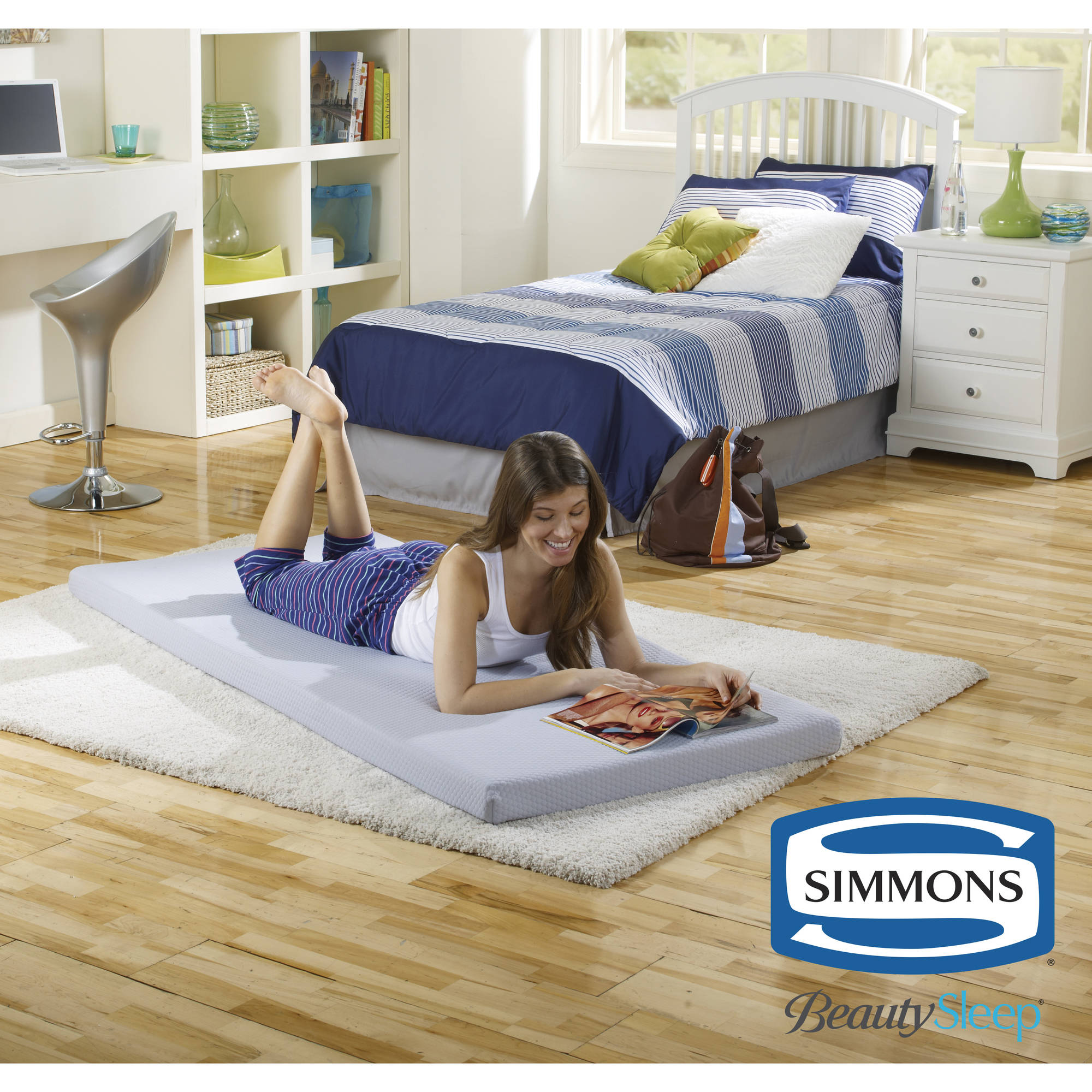 Beds Memory Foam Mattress Simmons Beautysleep Siesta Twin Memory Foam Guest Roll Up Extra Portable Mattress Bed