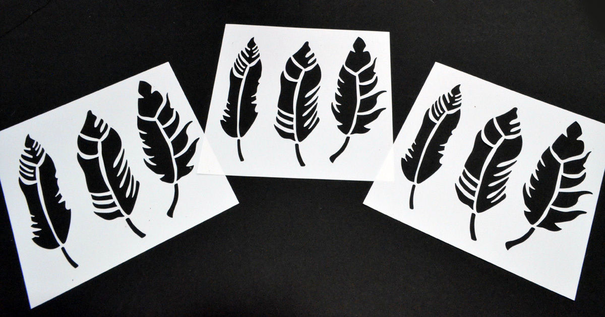 Feather 10 Pack! Vinyl Airbrush Stencils Feathers 10 Mil Spray paint