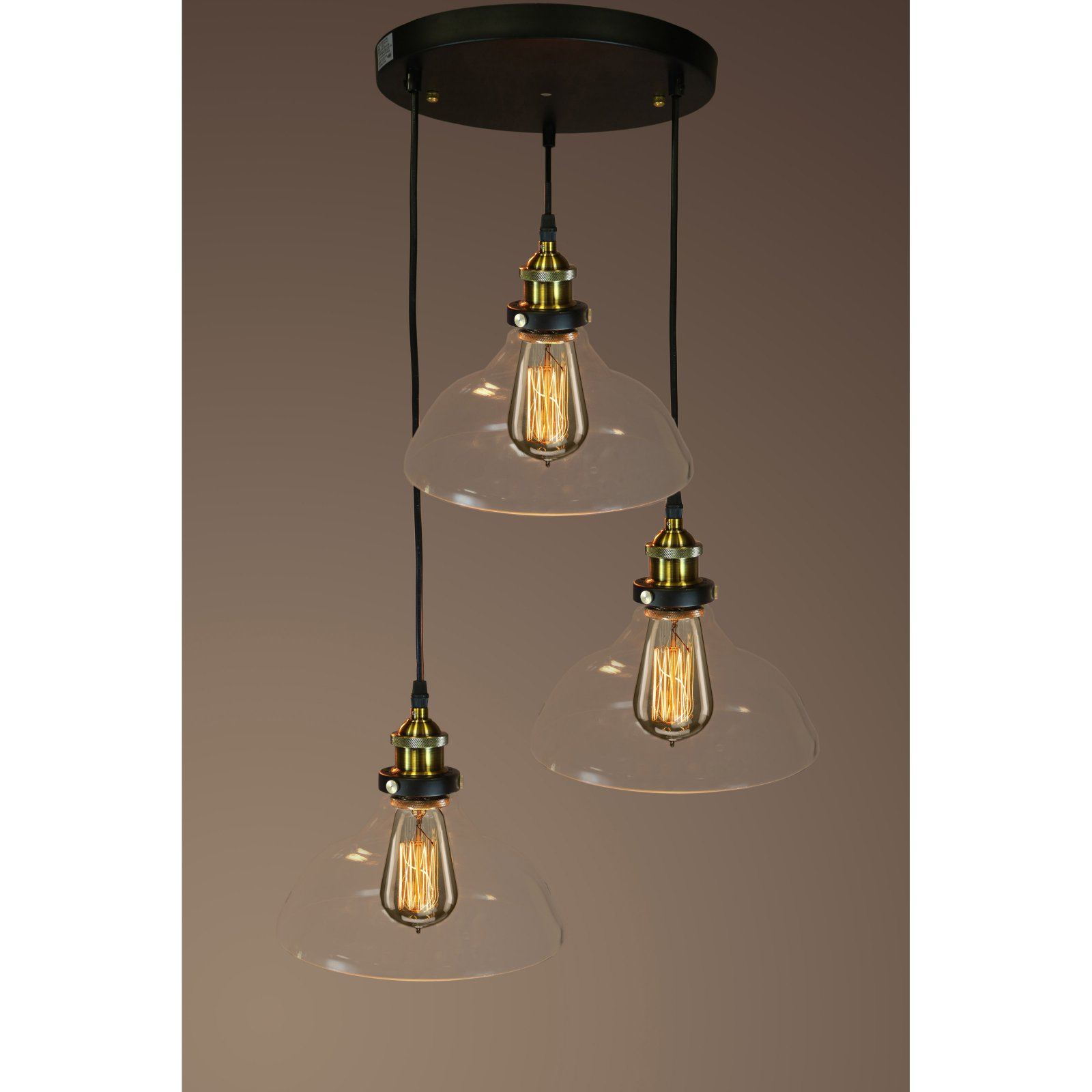 Glass Edison Lamp Esmeralda Adjustable Cord 3 Light Clear Glass Edison Lamp
