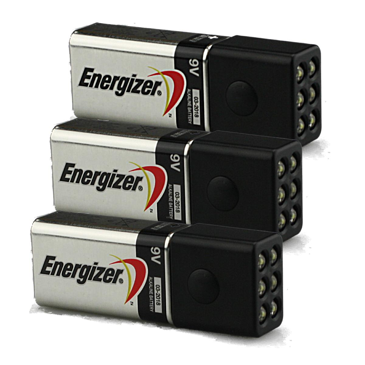 9 Volt Batterie 3 Pack Of Blocklite 6 Led Mini Flashlights W Energizer 9 Volt Batteries