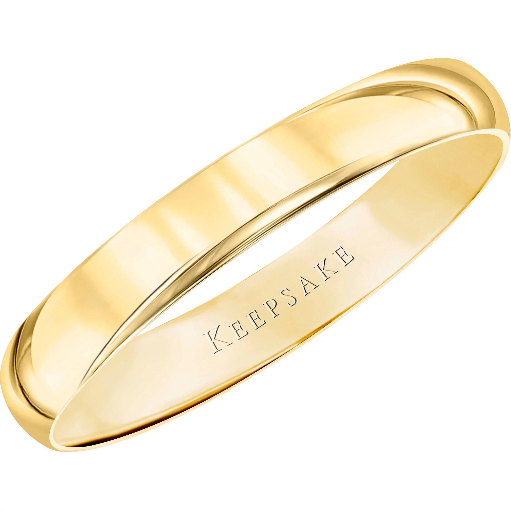 walmart jewelry wedding sets Keepsake 10kt Yellow Gold Wedding Band With High Polish Finish 3mm