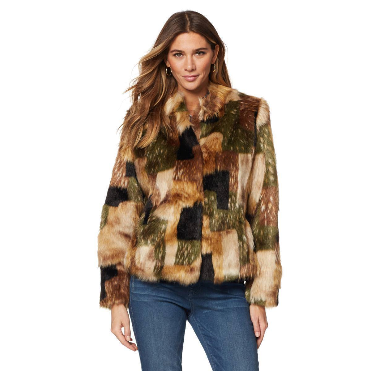 Fur Womens Adrianne Landau Chubby Faux Fur Womens Jacket Coat Camo Patchwork X Large