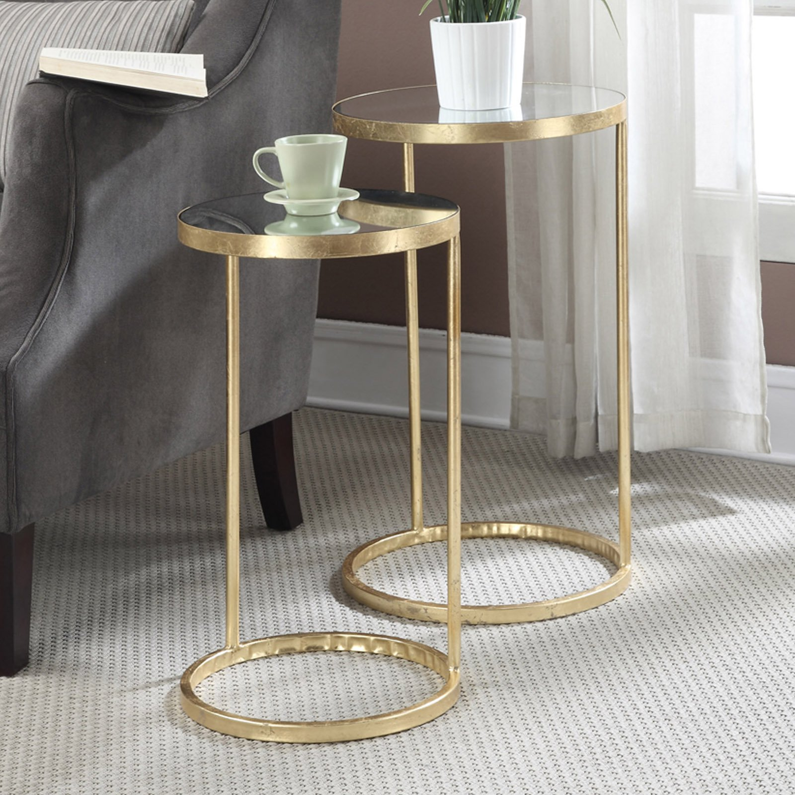 Gold Nesting Coffee Table Convenience Concepts Gold Coast 2 Piece Nesting End Table
