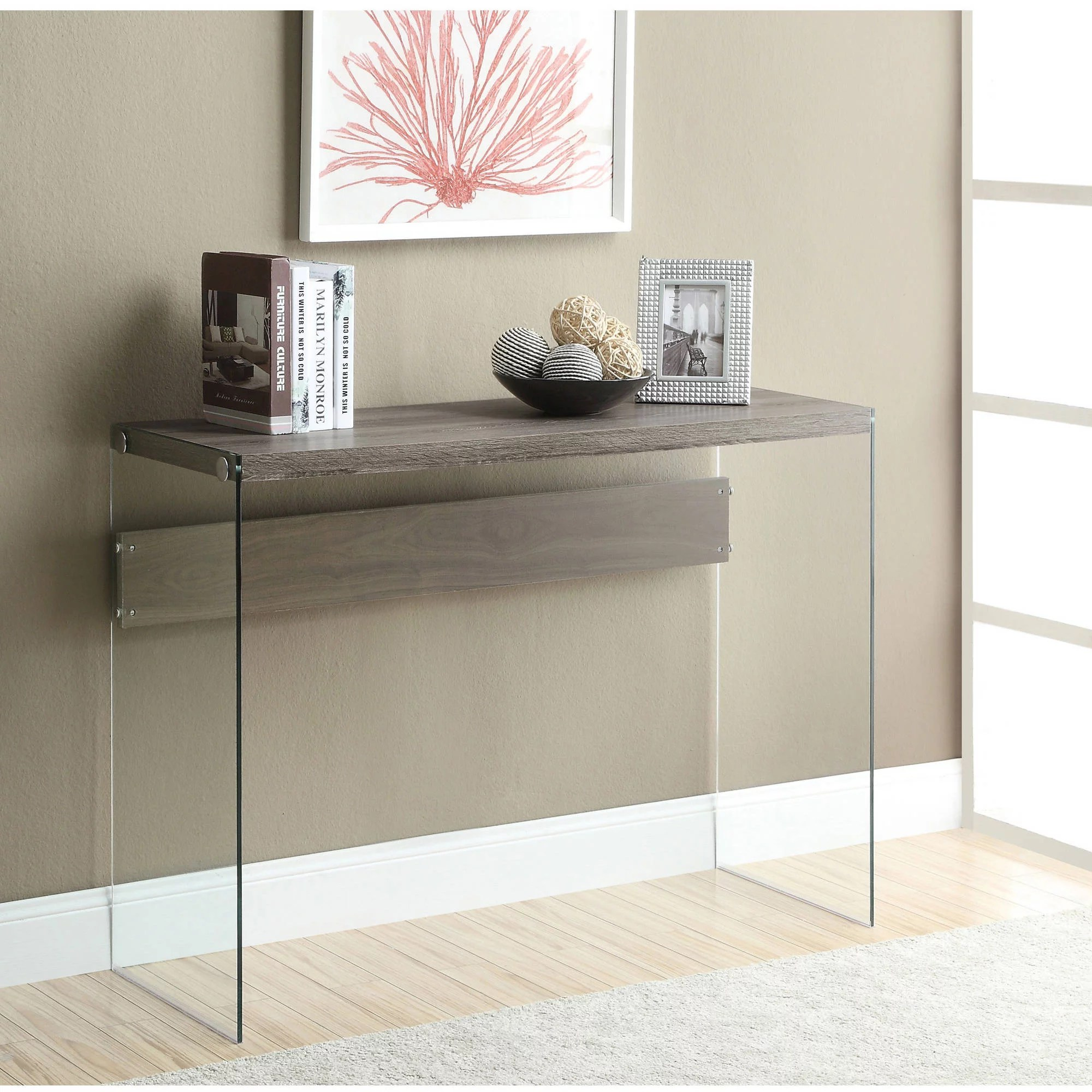 Glass Sofa Table Decor Monarch Console Table Dark Taupe With Tempered Glass