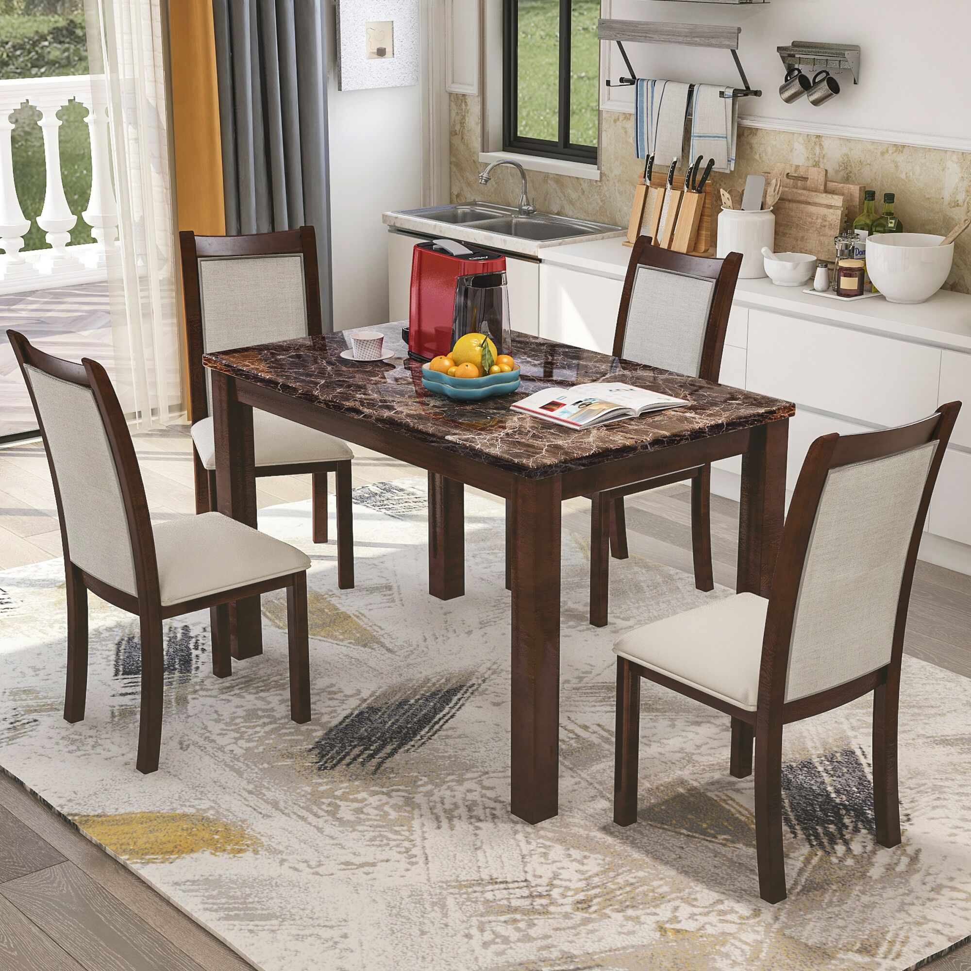 Dining Table Designs Harper Bright Designs Dining Kitchen Table Set With Chairs 5 Piece Dining Table Set