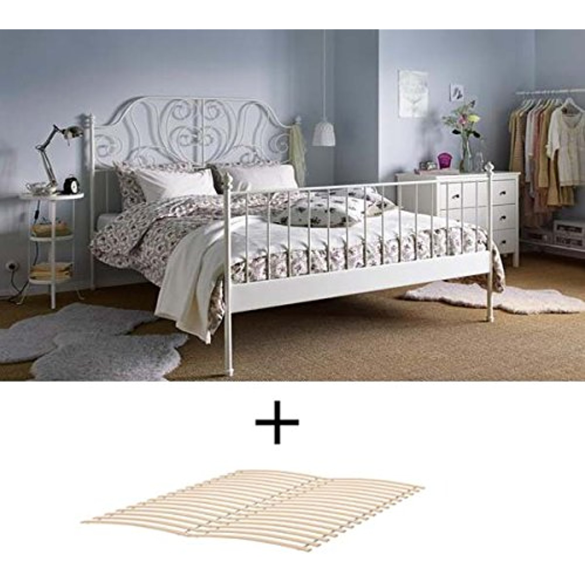 Ikea Full Size Bed Frame Ikea Full Size Metal Country Style Bed Frame With Slatted Base White