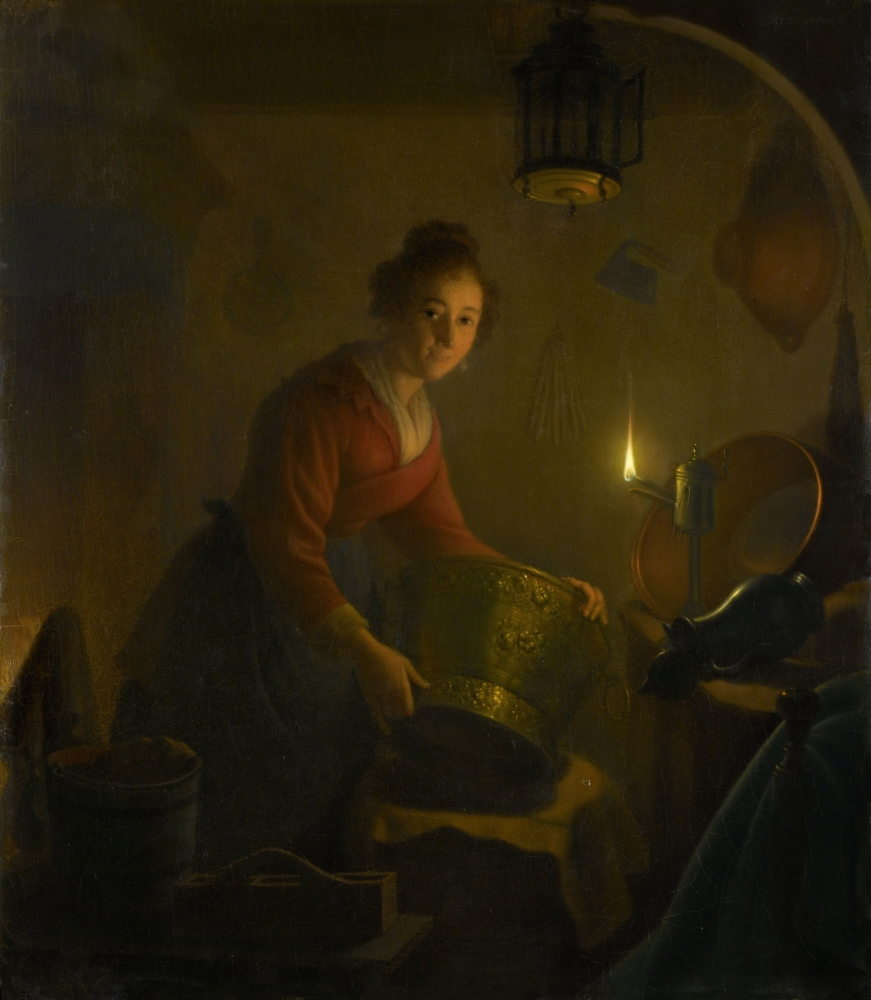 Candle Light Painting A Woman In A Kitchen By Candlelight By Michiel Versteegh C 1830 Dutch Painting Oil On Panel She Is Handling Large Metal Pots By The Light Of An Oil