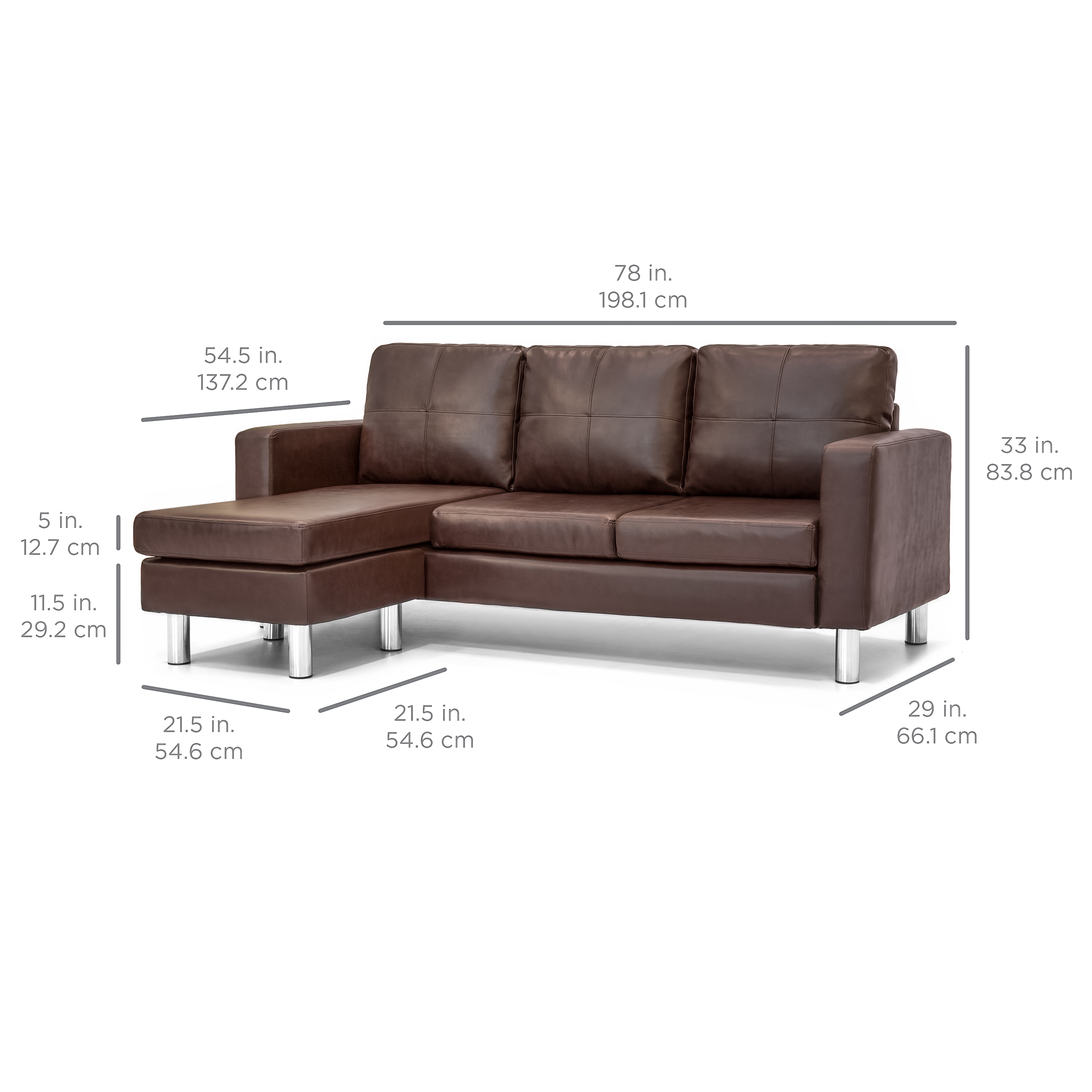 L Sofa Best Choice Products Leather L Shape Sectional Sofa Couch W Reversible Chaise Ottoman Brown
