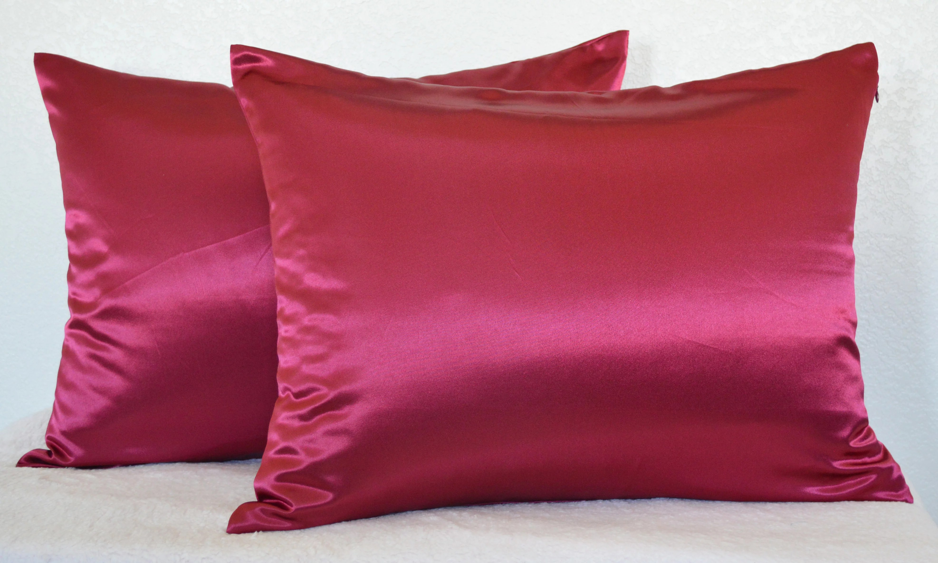 Satin Pillowcases With Zipper Aiking Home 350tc Bridal Satin Pillow Cases Zipper Closure Pack Of 2 Size 20 X26 Standard Burgundy
