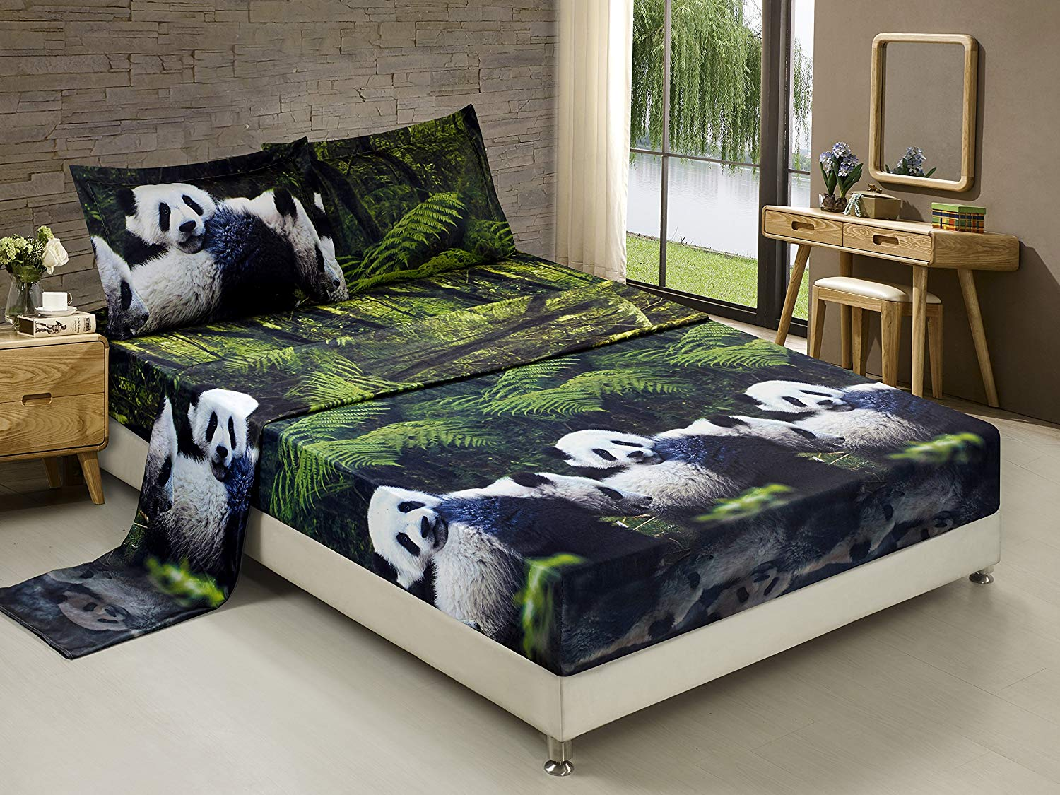 Printed Sheet Sets 3d Bed Sheet Set Queen 4 Piece 3d Panda Mom And Kids In Forest Printed Sheet Set Queen Size Y29 Soft Breathable Hypoallergenic Fade Resistant