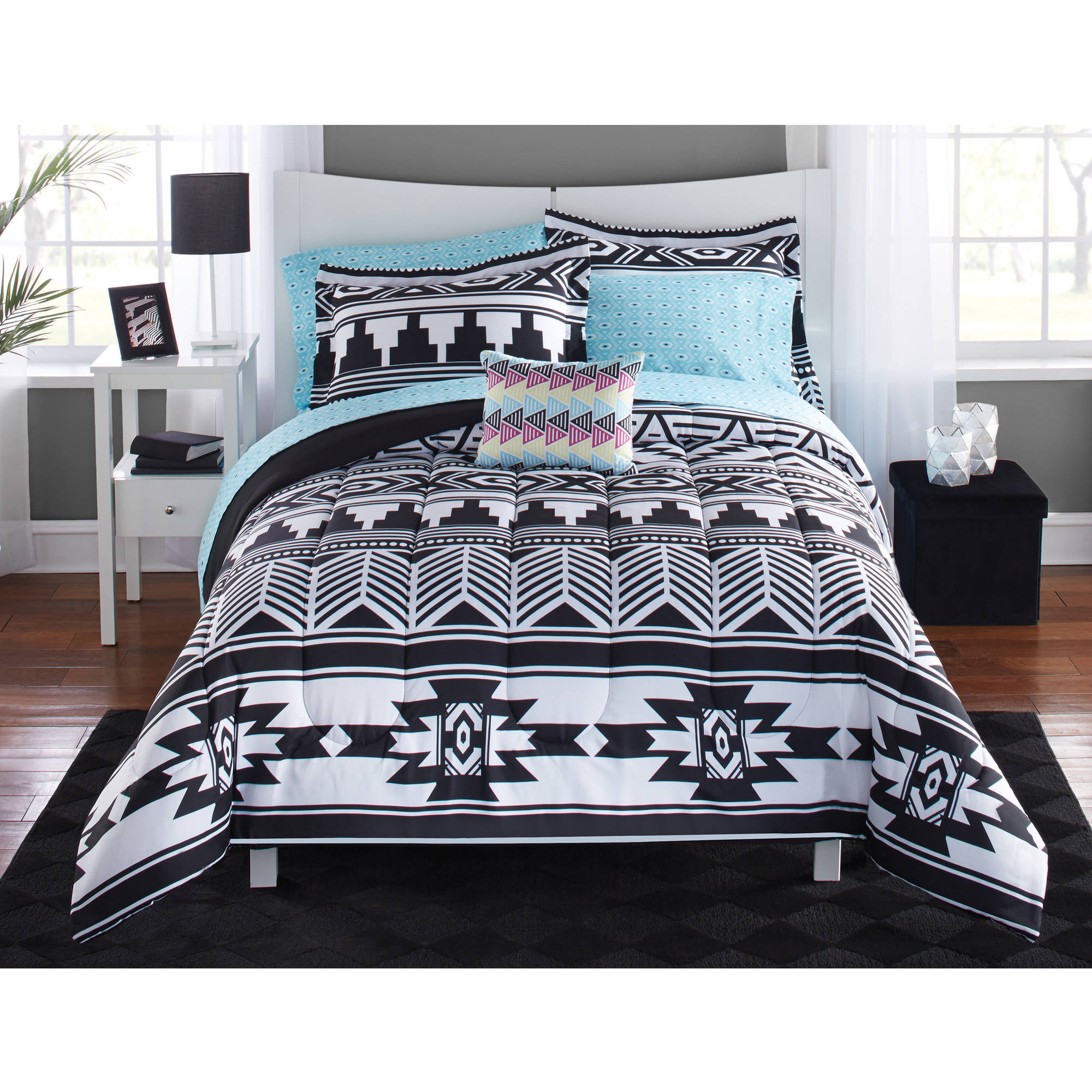 Mainstays tribal black and white bed in a bag bedding set walmart com