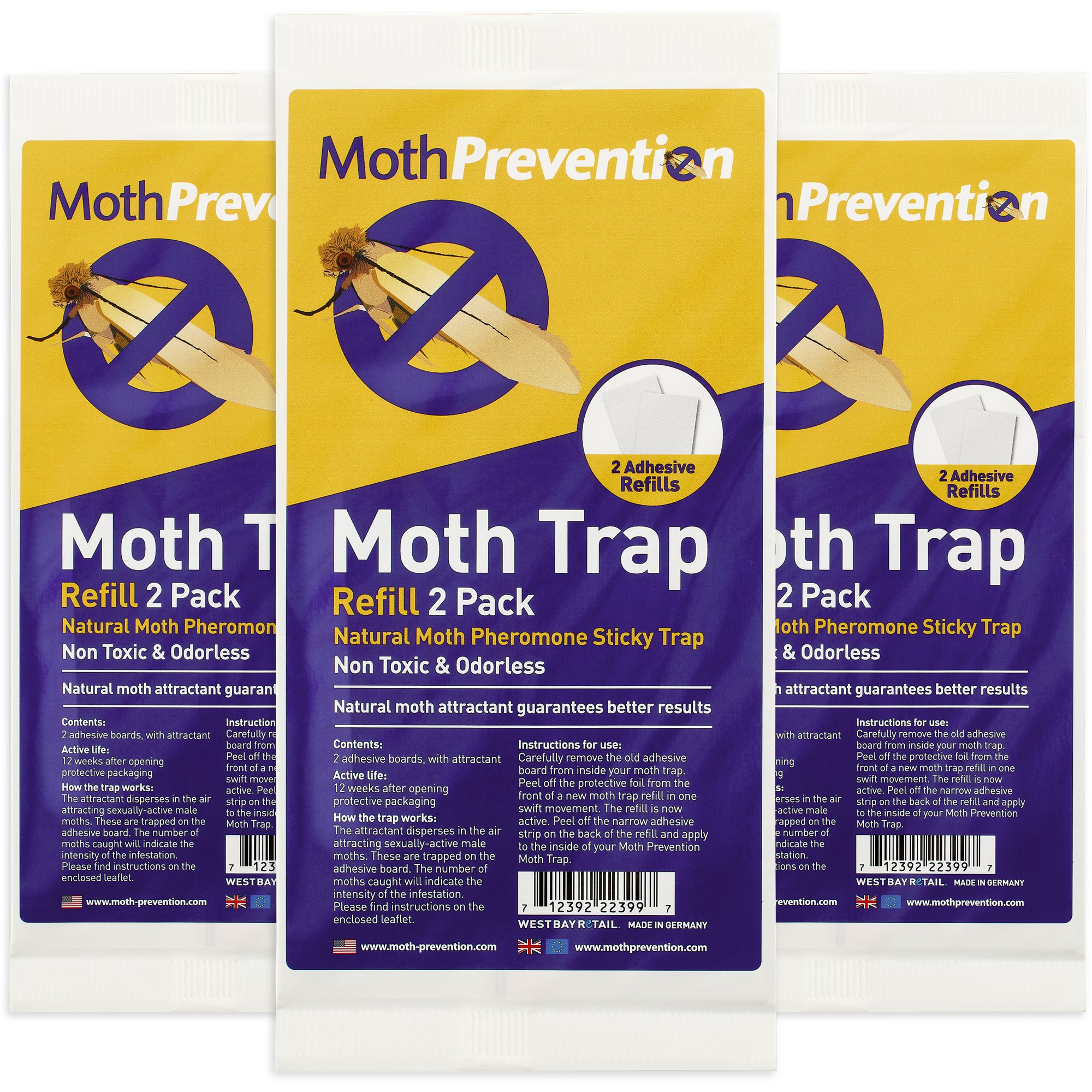 Strip Trap Moth Prevention Natural Moth Trap Refills 3x 2 Pack 6 Strips