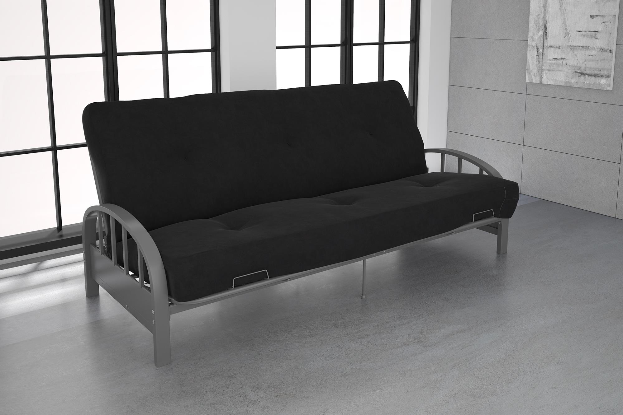 Futon Factory Paris Dhp Aiden Silver Metal Futon Frame With Coil Full Futon Mattress Multiple Colors And Sizes