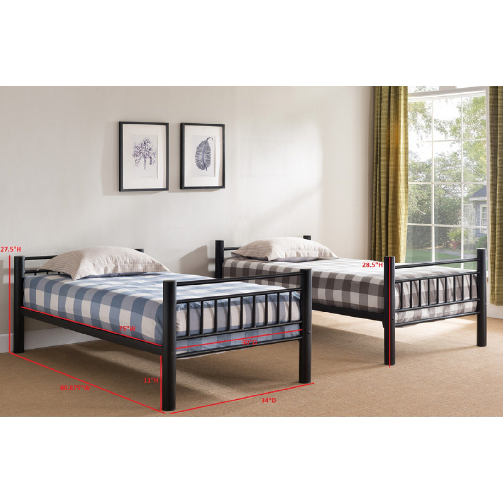 Stackable Twin Beds K B Furniture B4005 30 In Metal Bunk Bed