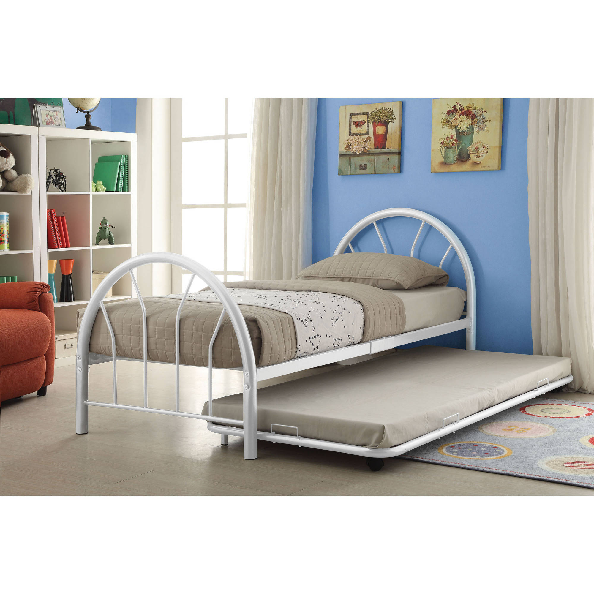 White Trundle Bed Silhouette Twin Bed With Trundle White Walmart