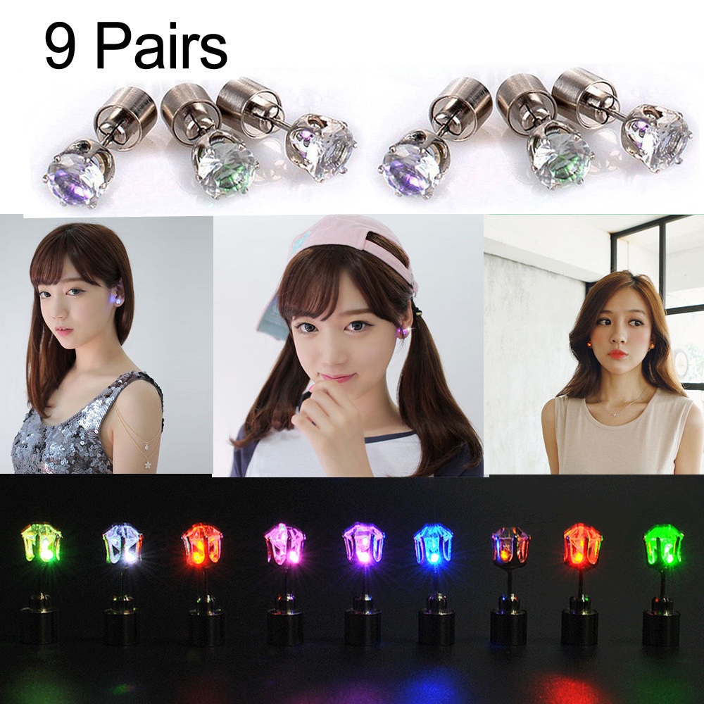 Led Earrings 9 Pairs Light Up Led Earrings Studs Flashing Blinking Ear Studs Dance Party Unisex For Men Women