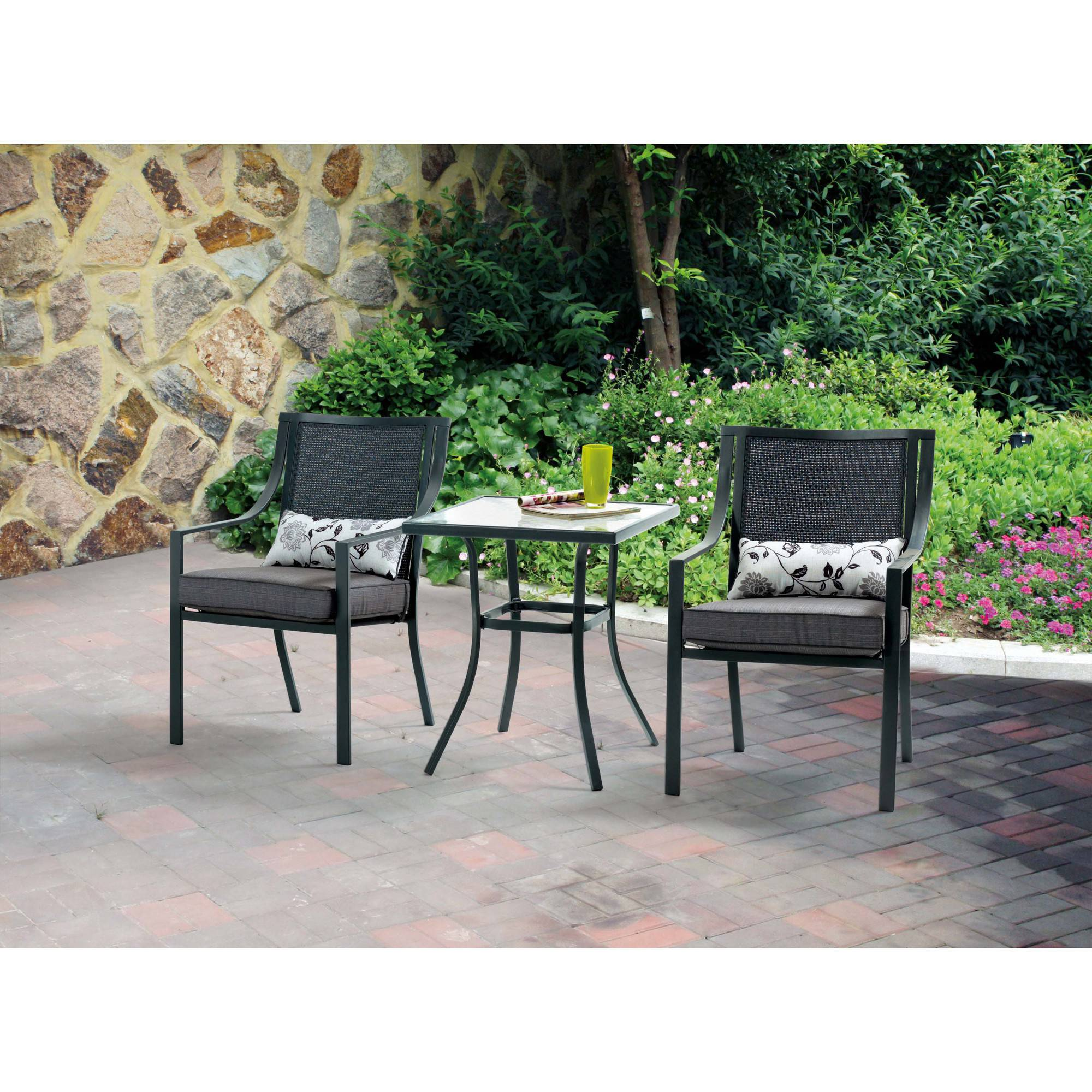 Chaise Metal Bistro Mainstays Alexandra Square 3 Piece Outdoor Bistro Set