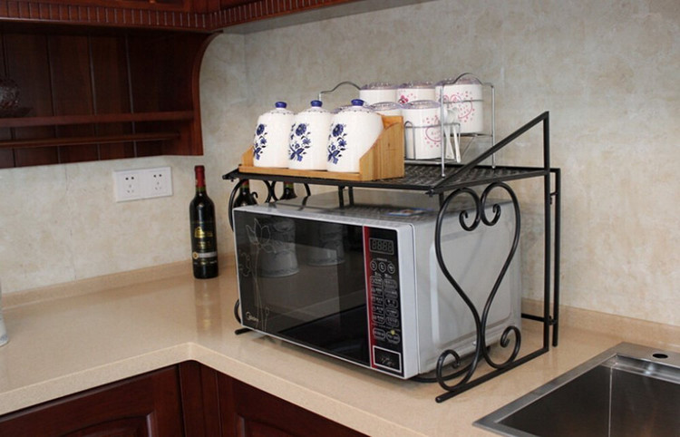 Metal Microwave Oven Rack Shelf Kitchen Shelves Counter