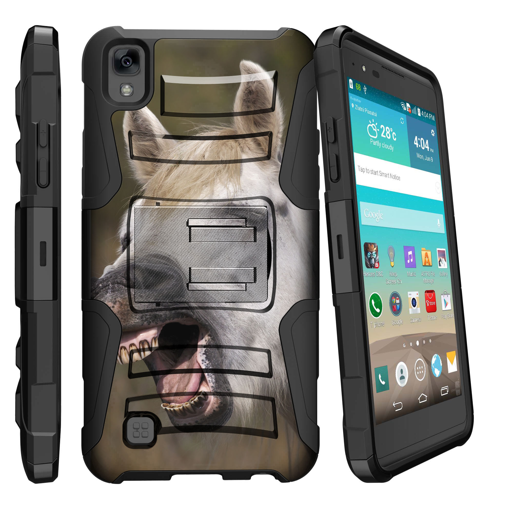 Mobile De24 Lg K6p Lg X Power Lg F740l Miniturtle Clip Armor Dual Layer Case Rugged Exterior With Built In Kickstand Holster Colorful Puppy