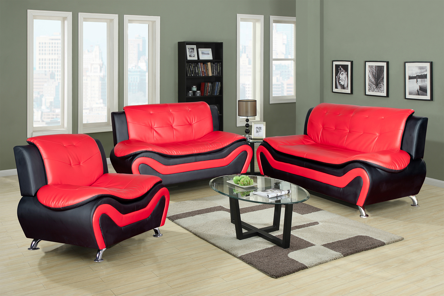 Contemporary Living Set 3 Piece Faux Leather Contemporary Living Room Sofa Love Seat Chair Set Black Red