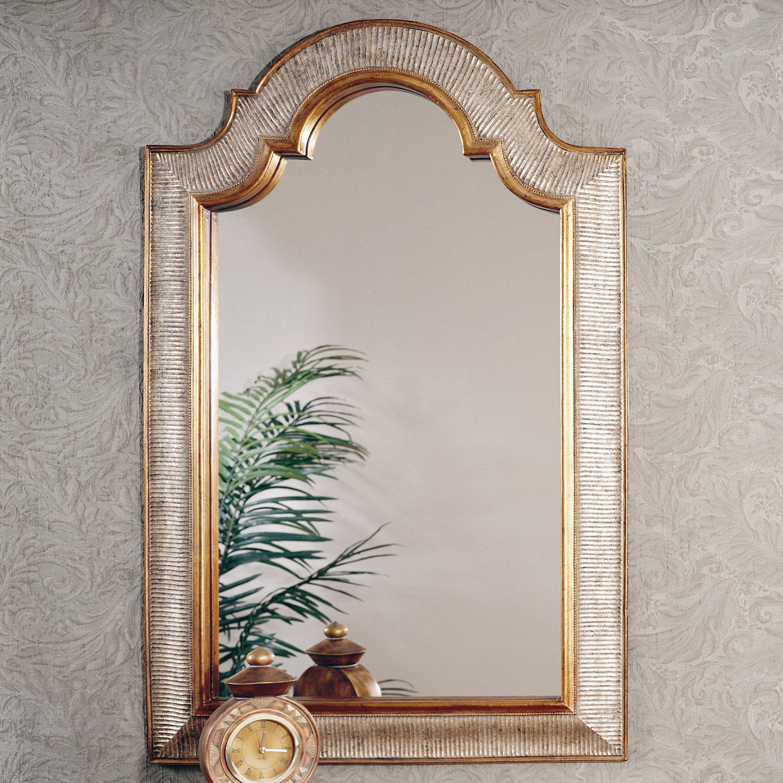 Decorative Mirror Gold Silver Arched Decorative Mirror 29w X 45h In