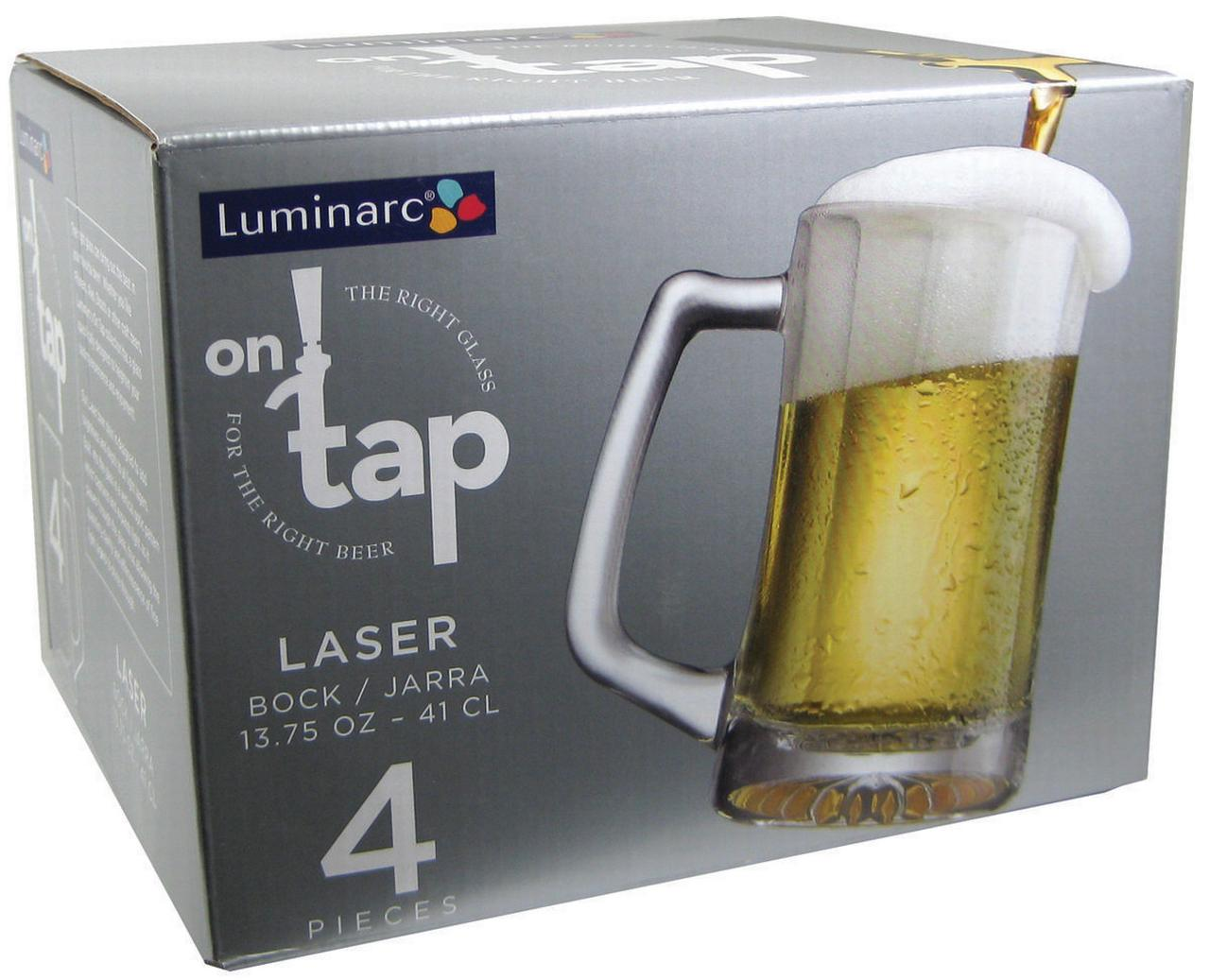 Luminarc Glass Luminarc On Tap 13 75 Ounce Glass Laser Mug Set Of 4