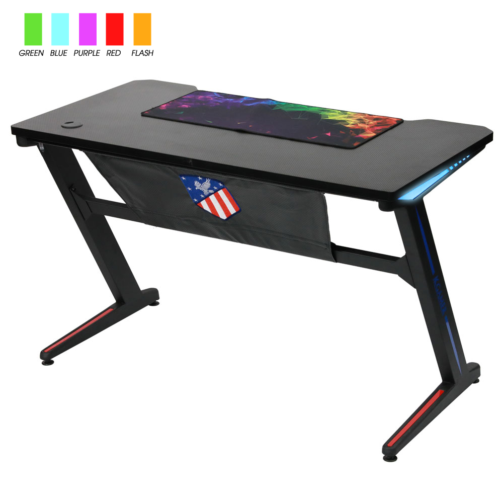 Computer Gaming Desk Kinsal Upgrade Gaming Desk Computer Z Shaped Desk Table Rgb Led Ambience Lighting Racing Table E Sports Durable Gaming Desk Ergonomic