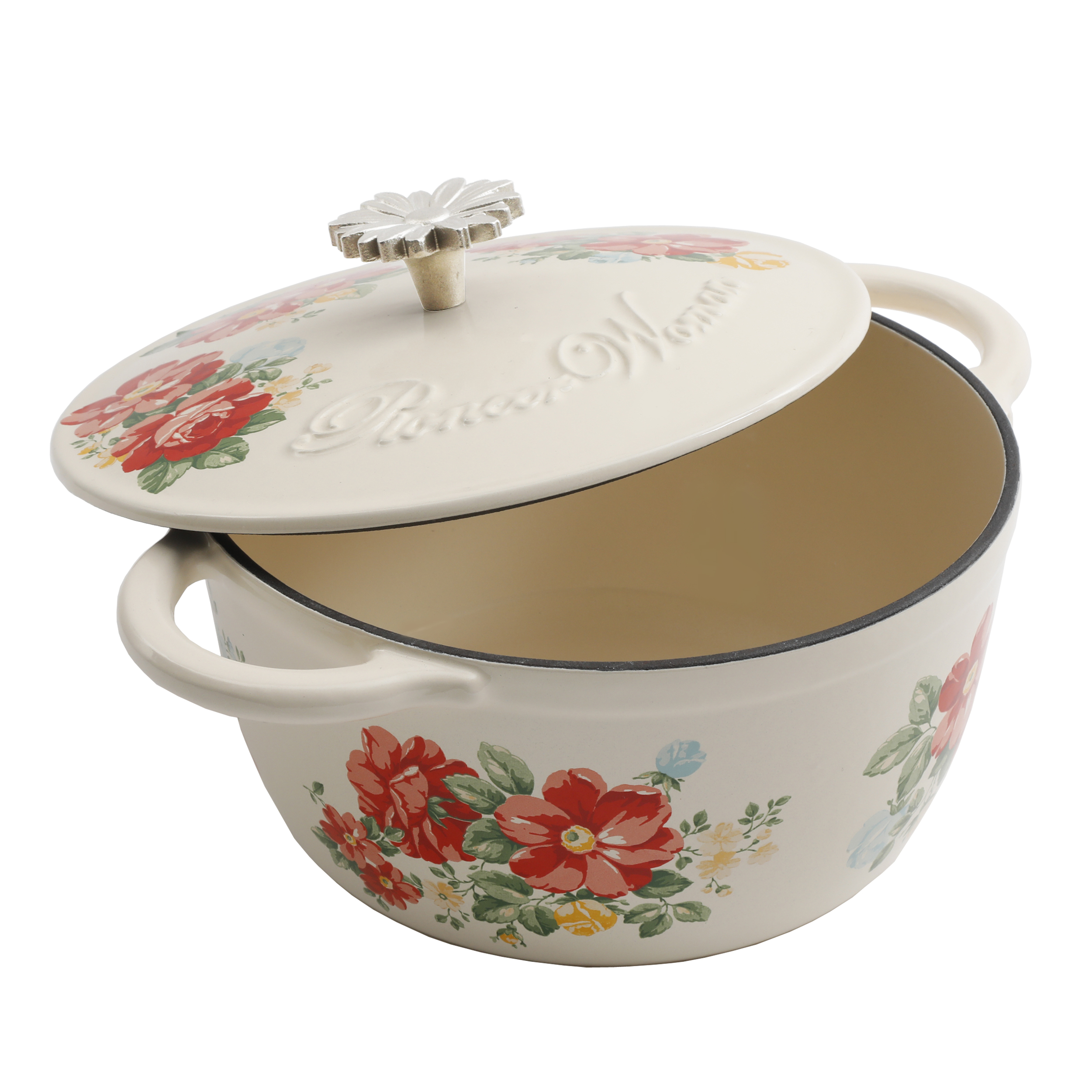 Cast Iron Casserole Dish The Pioneer Woman Timeless Beauty Vintage Enameled Cast Iron 3 Quart Floral Casserole Dish With Lid