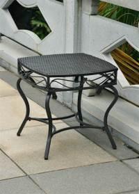 Wicker Resin/Steel Patio Side Table in Black Antique ...