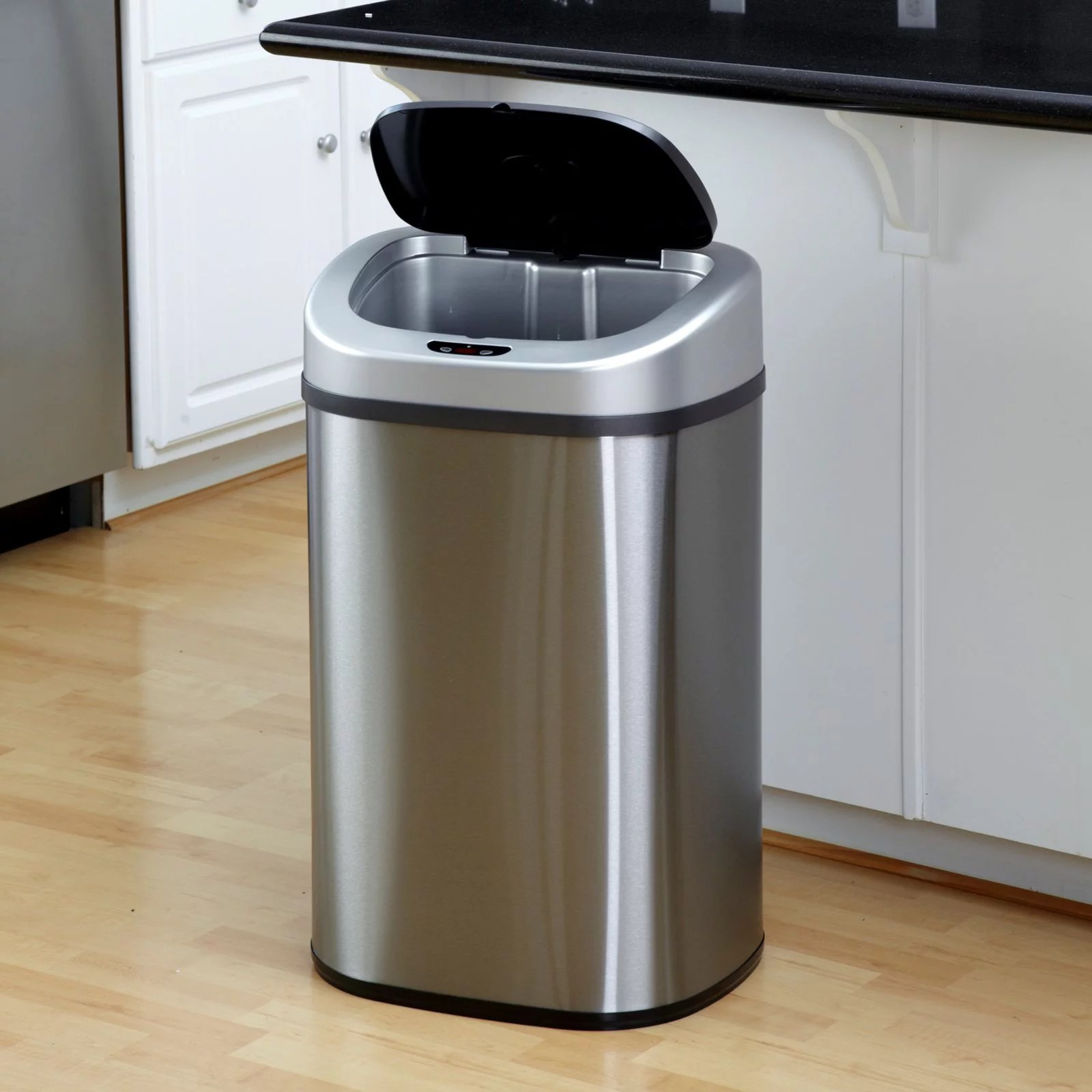 Garbage Bins Walmart Itouchless Stainless Steel 13 Gallon Motion Sensor Trash Can