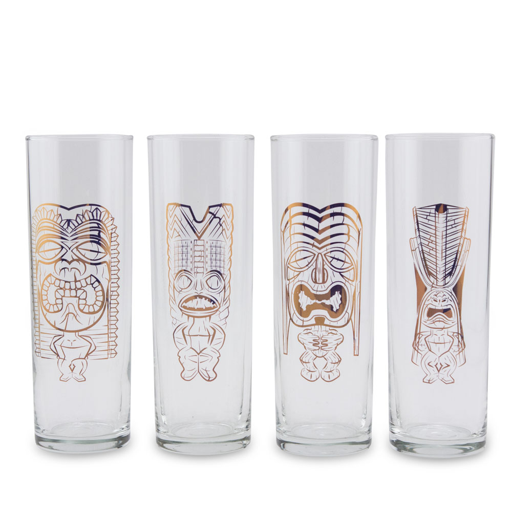Luminarc Glass Luminarc Copper Tiki Gods Highball Collins Glass Set 13 Oz 4 Pieces