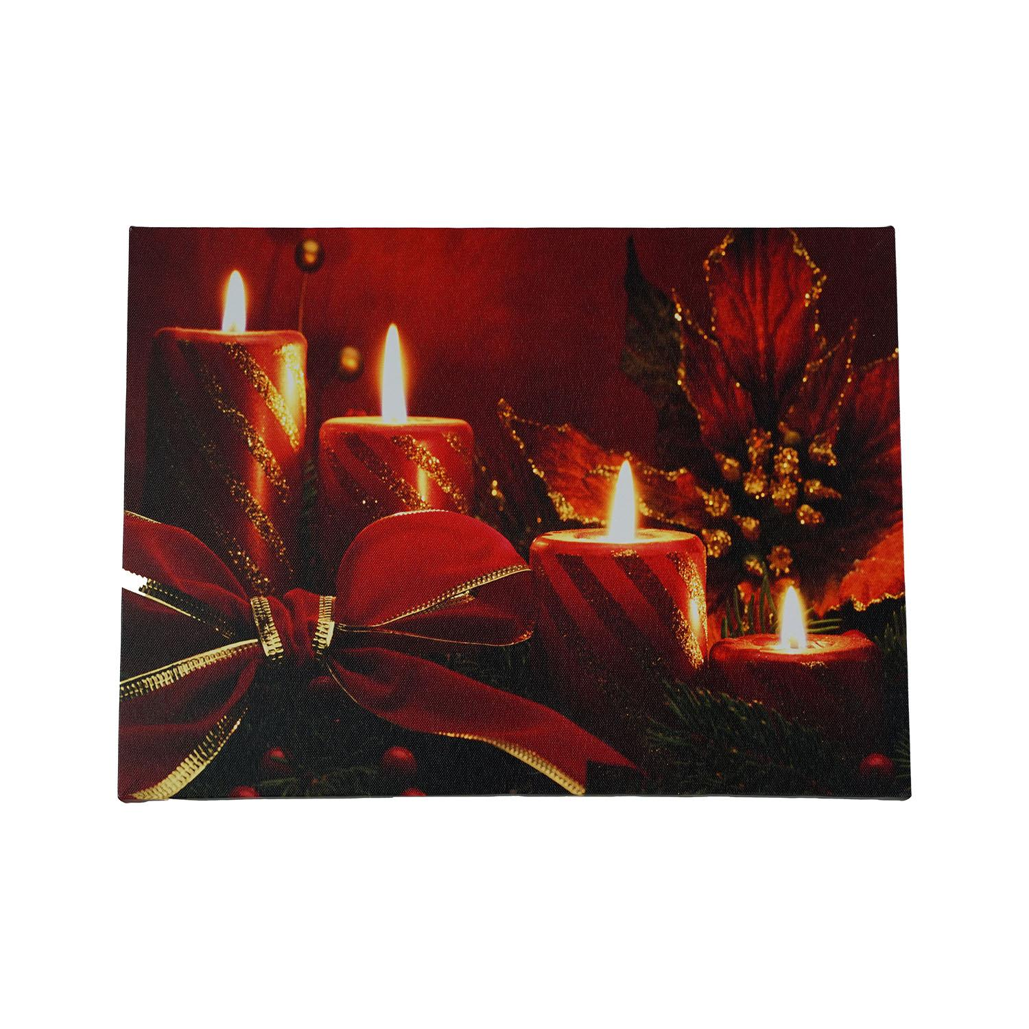 Led Lighted Red Glitter Striped Candles With Poinsettia Bow Christmas Canvas Wall Art 12