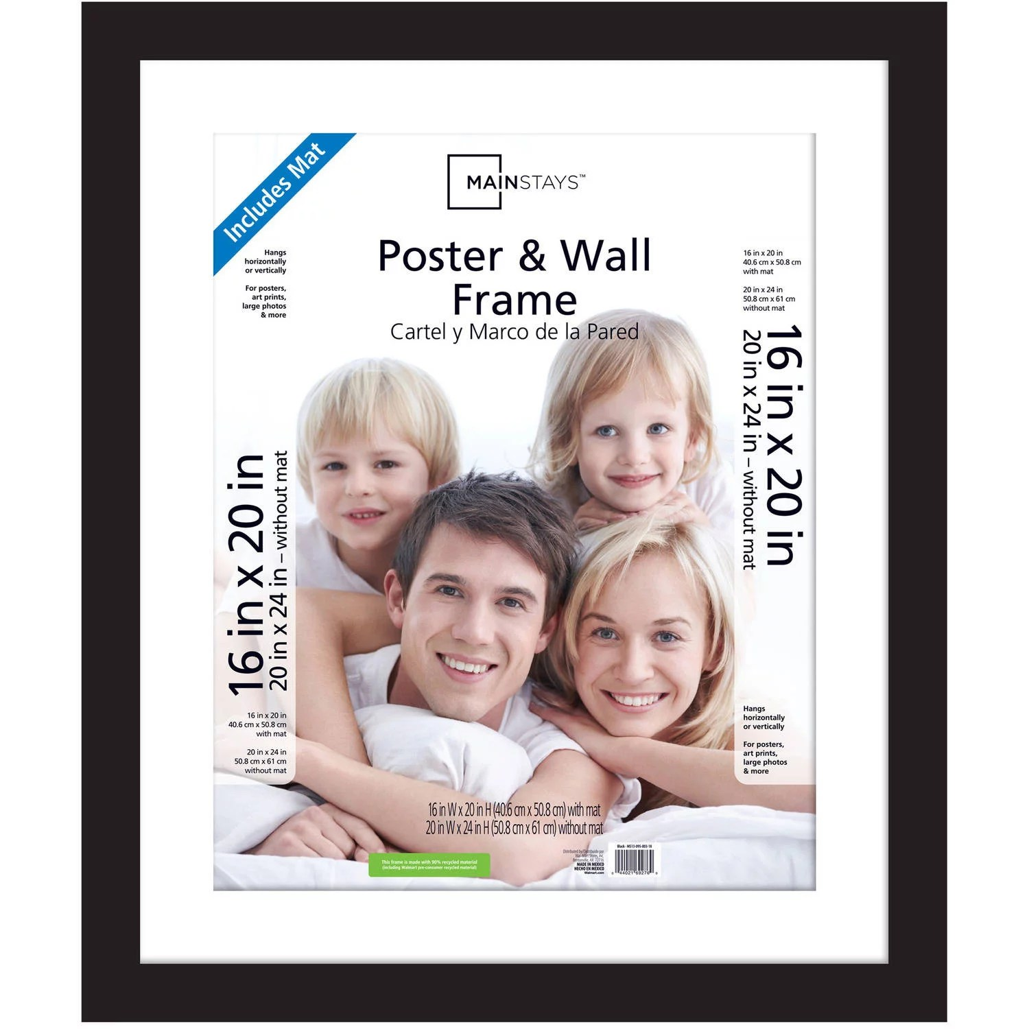 Large Frame Mat Mainstays 20x24 Matted To 16x20 Wide Gallery Poster And Picture Frame Black